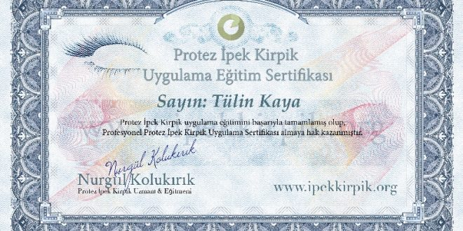 ipek kirpik sertifikası